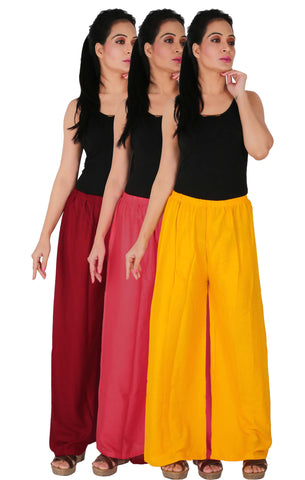 Pack Of 3 Rayon Palazzos - MPY
