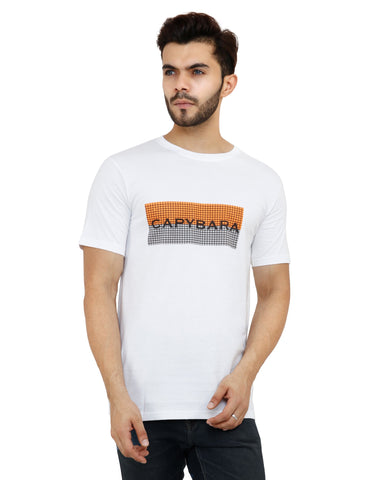 White Color Cotton Mens Tshirt - MRHW008