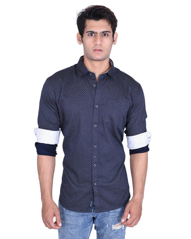 Navy Blue Color Cotton Shirt - MRNY03
