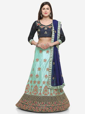 Blue Color Silk Satin Women's Semi Stitched Lehenga - MSKN34401