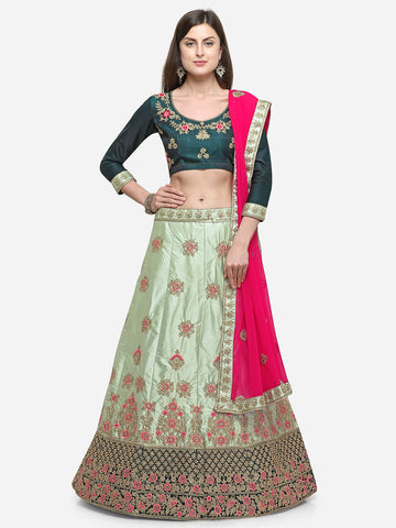 Green Color Silk Satin Women's Semi Stitched Lehenga - MSKN34402