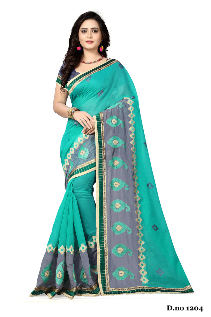 Buy Sky Blue Color Chanderi Silk Saree