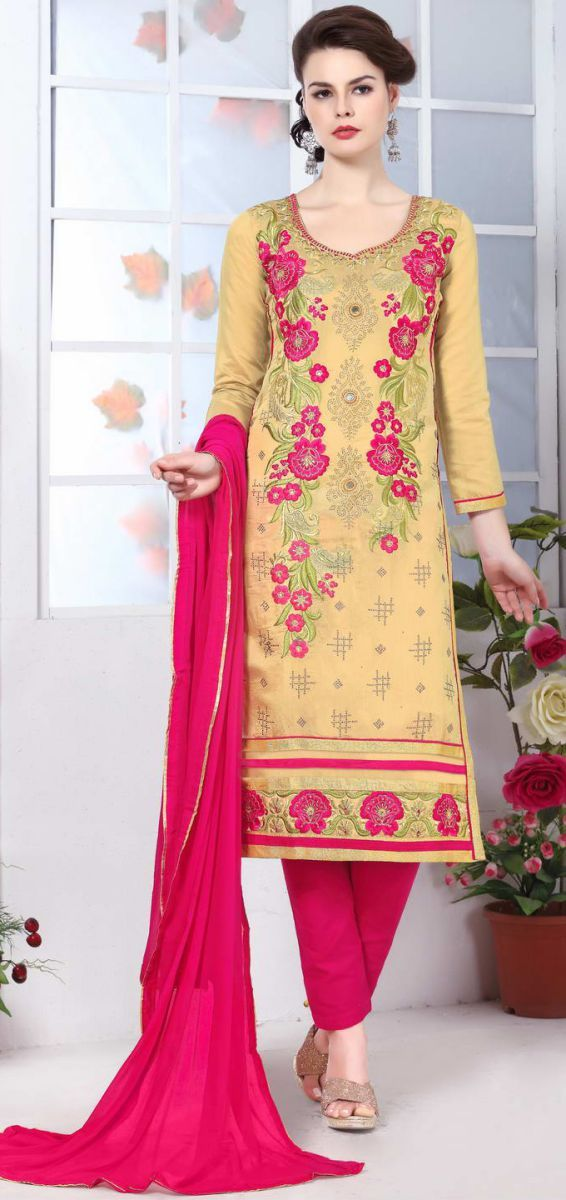 daf2fc09e8 Buy Yellow Color Pure Heavy Glass Cotton UnStitched Salwar | Zinnga