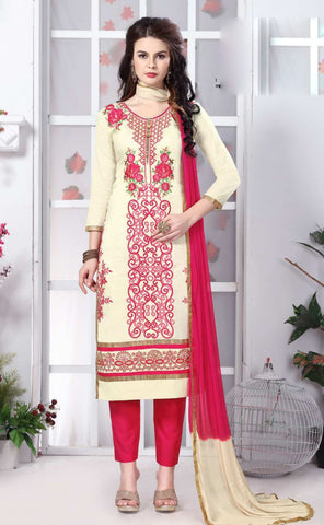 White Color Pure Heavy Glass Cotton UnStitched Salwar - MT-1503