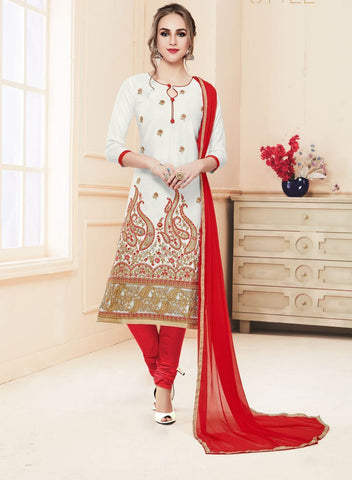 White Color Heavy Glass Cotton UnStitched Salwar - MT-1602