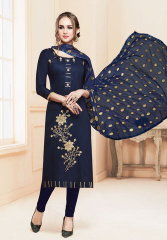 Navy Blue Color Heavy Glass Cotton UnStitched Salwar - MT-1604
