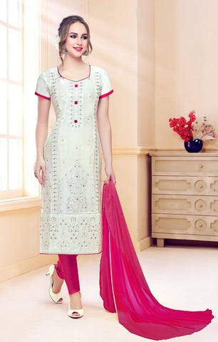 White Color Pure Heavy Glass Cotton UnStitched Salwar - MT-1701