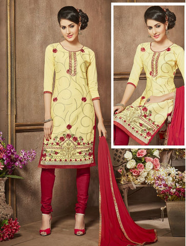 Beige Color Pure Heavy Glass Cotton UnStitched Salwar - MT-2107
