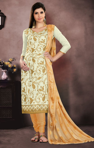 White Color Pure Cambric Cotton UnStitched Salwar - MT-2708