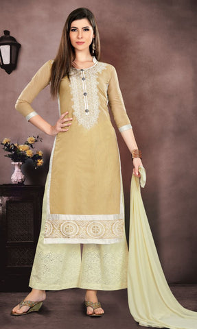 Beige Color Pure Heavy Glass Cotton UnStitched Salwar - MT-2727