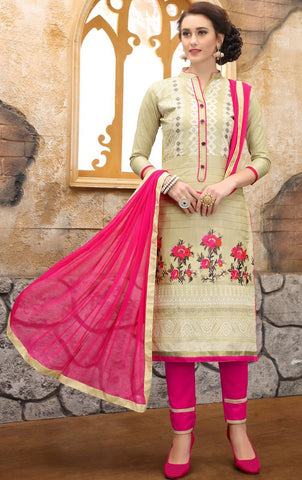 Off White Color Pure Heavy Glass Cotton UnStitched Salwar - MT-7004