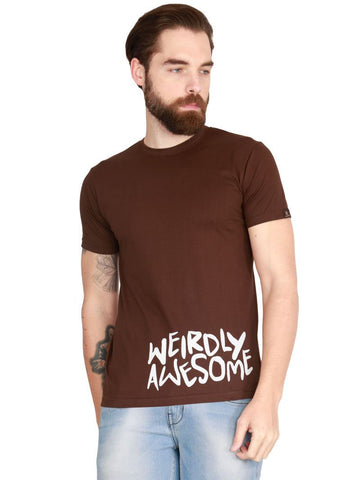 Brown Color Cotton HalfSleeves Men T-Shirt - MTS-BR-HS-Awesome-E51-1
