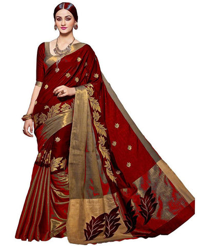 Maroon Color Cotton Polyester Silk Women's Saree - MUTA06