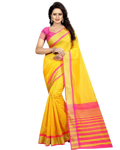 Yellow Color Cotton Polyester Silk Women's Saree - MUTA1286