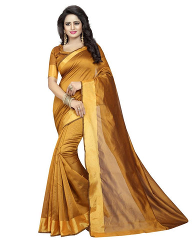 Mustard Color Cotton Polyester Silk Women's Saree - MUTA1294