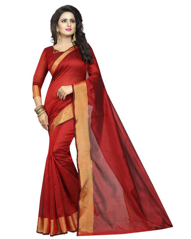Red Color Cotton Polyester Silk Women's Saree - MUTA1296