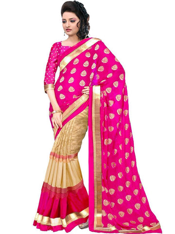 Dark Pink Color Bhagalpuri Silk Saree  - MUTA1345