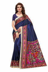 Buy Navy Blue Color Khadi Silk Saree