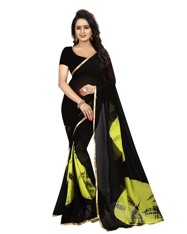Green Color Chiffon Women's Saree - MUTA1526