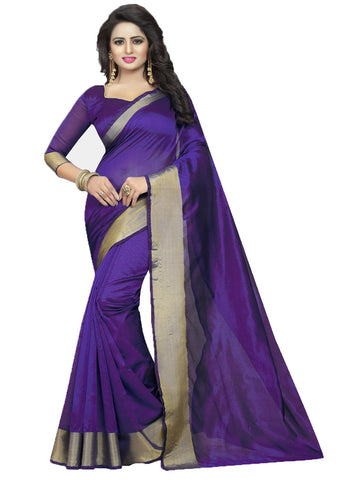Purple Color Cotton Polyester Silk Women's Saree - MUTA1636