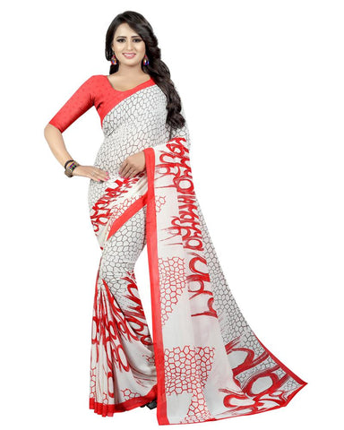 Ghost White Color Georgette Women's Saree - MUTA1739