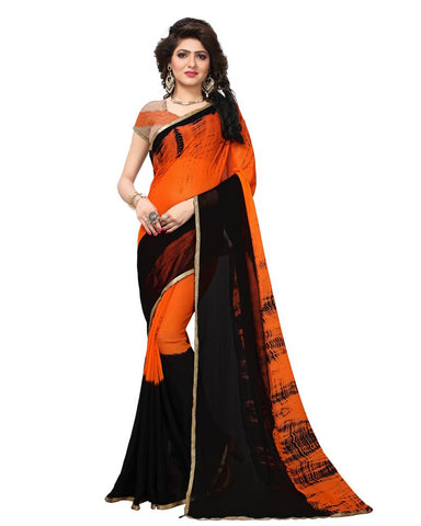 Orange Color Net Women's Saree - MUTA1825