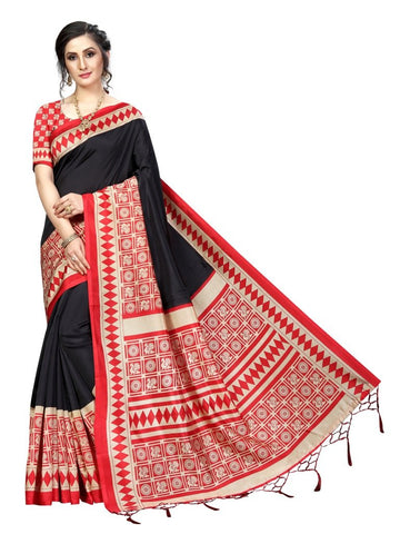 Black Red Color Banarasi Art Silk Women's Saree - MUTA1830