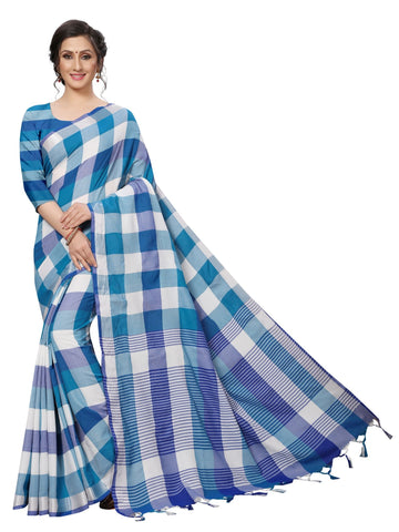Blue Color Cotton Polyester Silk Women's Saree - MUTA1879