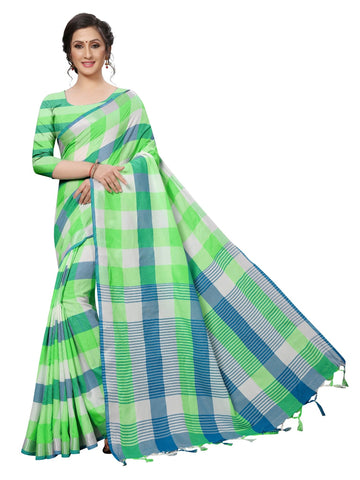 Light Green Color Cotton Polyester Silk Women's Saree - MUTA1880