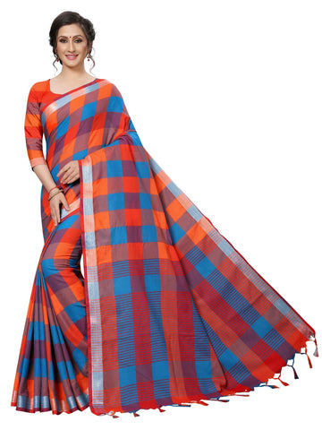 Orange Color Cotton Polyester Silk Women's Saree - MUTA1882