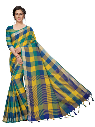 Dark Green Color Cotton Polyester Silk Women's Saree - MUTA1884