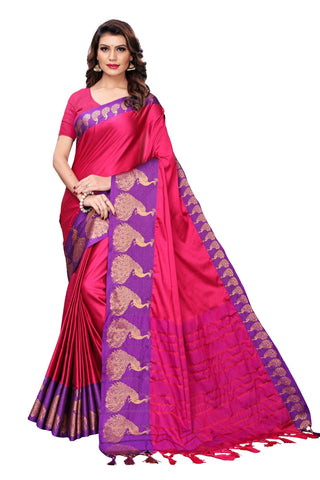 Pink Color Cotton Polyester Silk Women's Saree - MUTA1887