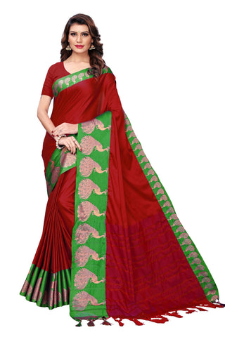 Red Color Cotton Polyester Silk Women's Saree - MUTA1888