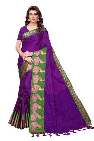 Dark Blue Color Cotton Polyester Silk Women's Saree - MUTA1889