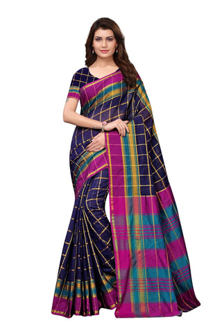 Dark Blue Color Cotton Polyester Silk Women's Saree - MUTA1895