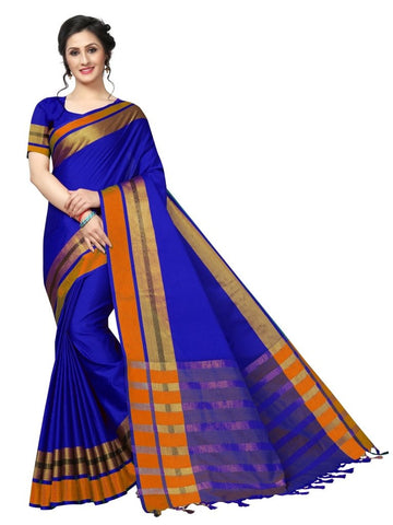 Blue Color Cotton Polyester Silk Women's Saree - MUTA1897