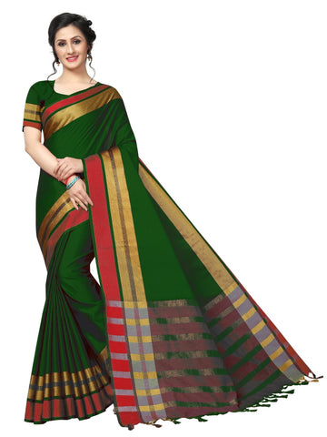 Dark Green Color Cotton Polyester Silk Women's Saree - MUTA1898