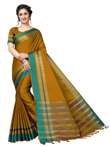 Yellow Color Cotton Polyester Silk Women's Saree - MUTA1899