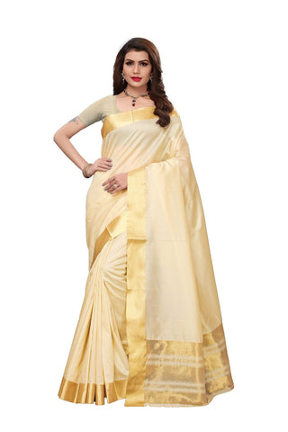 White Color Cotton Polyester Silk Women's Saree - MUTA1901