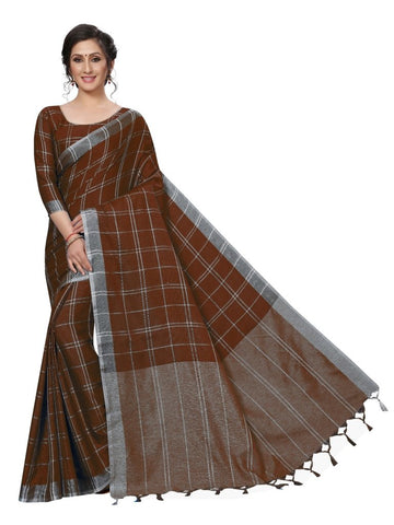 Brown Color Cotton Polyester Silk Women's Saree - MUTA1907