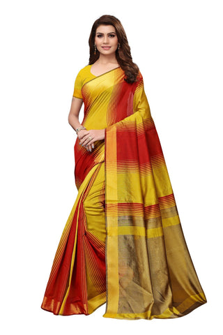 Yellow Color Cotton Polyester Silk Women's Saree - MUTA1908