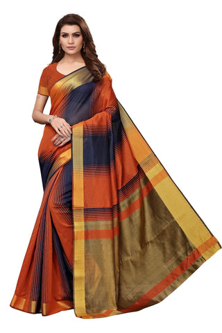 Orange Color Cotton Polyester Silk Women's Saree - MUTA1909