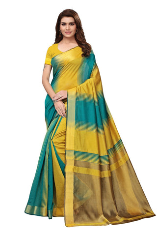 Yellow Color Cotton Polyester Silk Women's Saree - MUTA1910