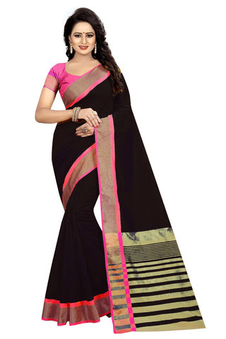 Black Color Cotton Polyester Silk Women's Saree - MUTA1911