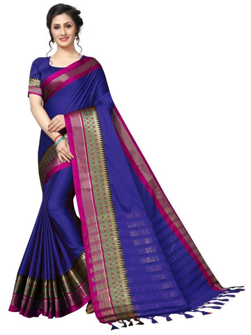 Blue Color Cotton Polyester Silk Women's Saree - MUTA1921