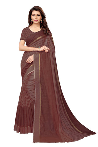 Brown Color Cotton Polyester Silk Women's Saree - MUTA1928