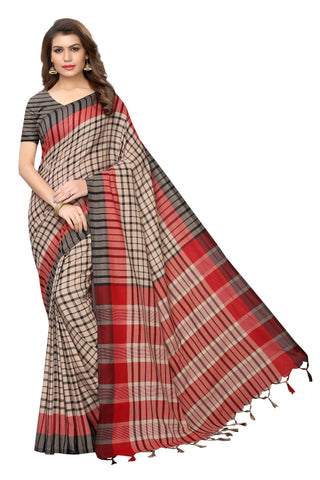 Grey Color Cotton Polyester Silk Women's Saree - MUTA1931