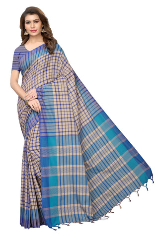 Blue Color Cotton Polyester Silk Women's Saree - MUTA1932