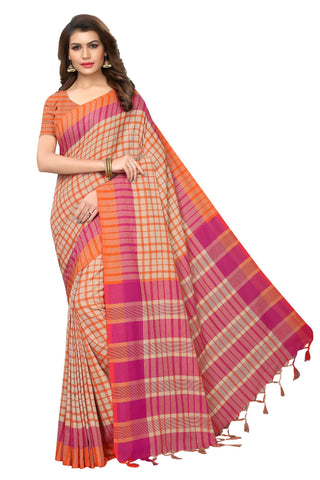 Orange Color Cotton Polyester Silk Women's Saree - MUTA1934