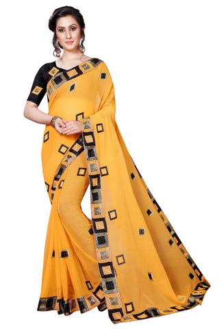 Yellow Color Georgette Women's Saree - MUTA1947
